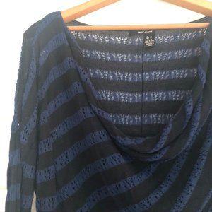 DKNY Jeans - Draped Neck Striped Sweater - M